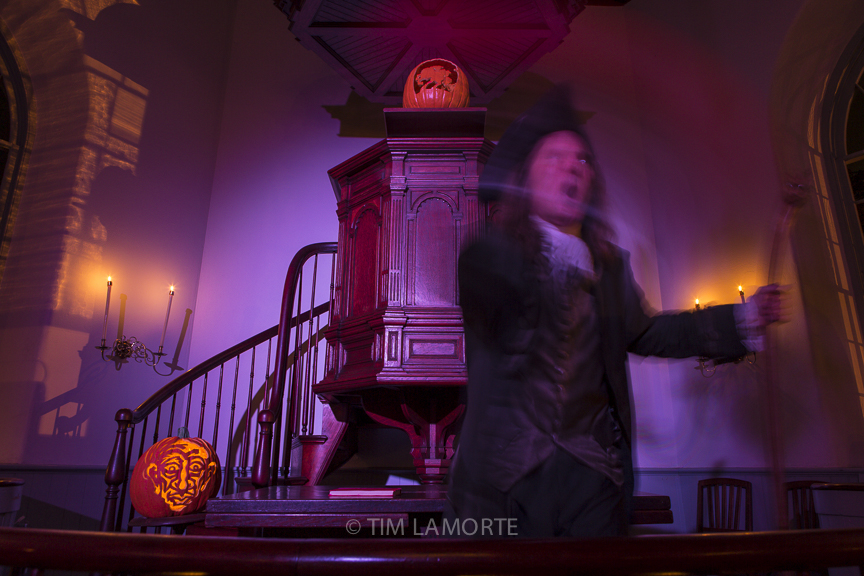 """Jonathan Kruk performs """"The Legend of Sleepy Hollow"""" at the Old Dutch Church in 2015."""