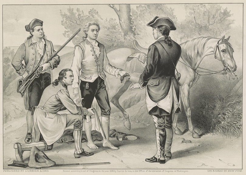 The 1876 lithograph by Currier & Ives titled  The Capture of Andre by John Paulding, David Williams and Isaac Van Wart, at Tarrytown, N.Y., Sept. 23rd, 1780.  Retrieved from the Library of Congress ( https://www.loc.gov/item/90714168/ )