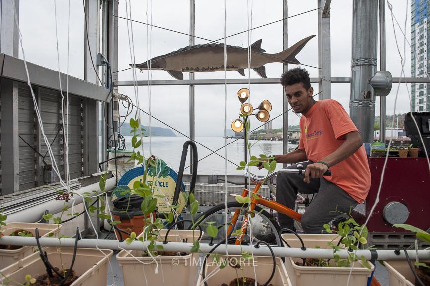 Science Barge volunteer Hector Marcelino, 15,rides the Energy Bike
