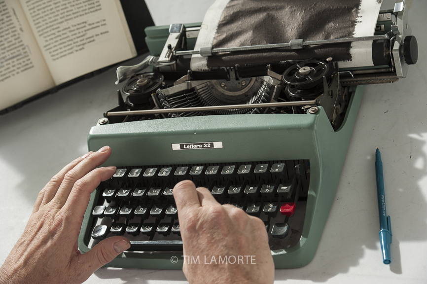 """Youd retypes """"Falconer"""" on an Olivetti Lettera 32 on June 10."""