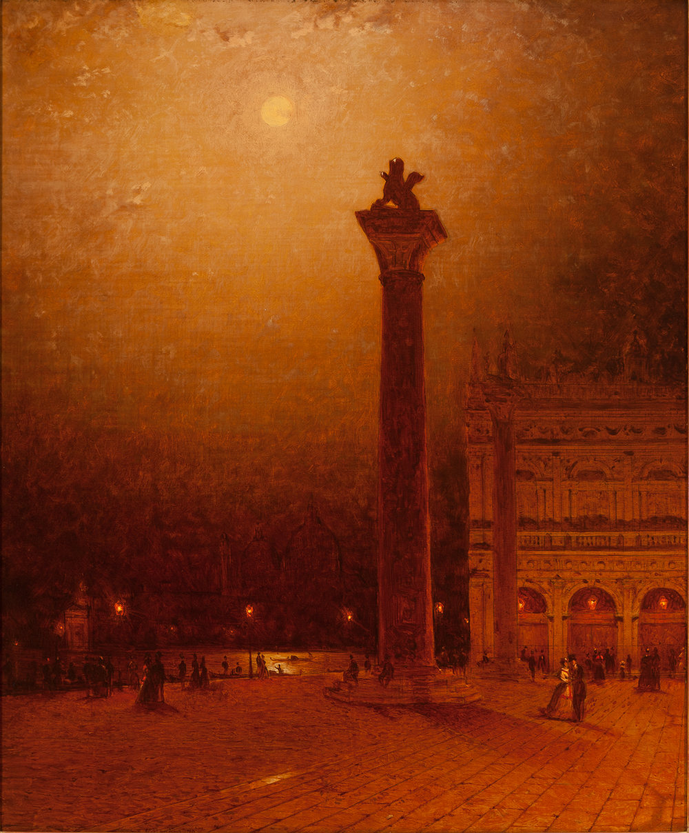 The Column of St. Mark, Venice, Moonlight  by Sanford Robinson Gifford (1870)