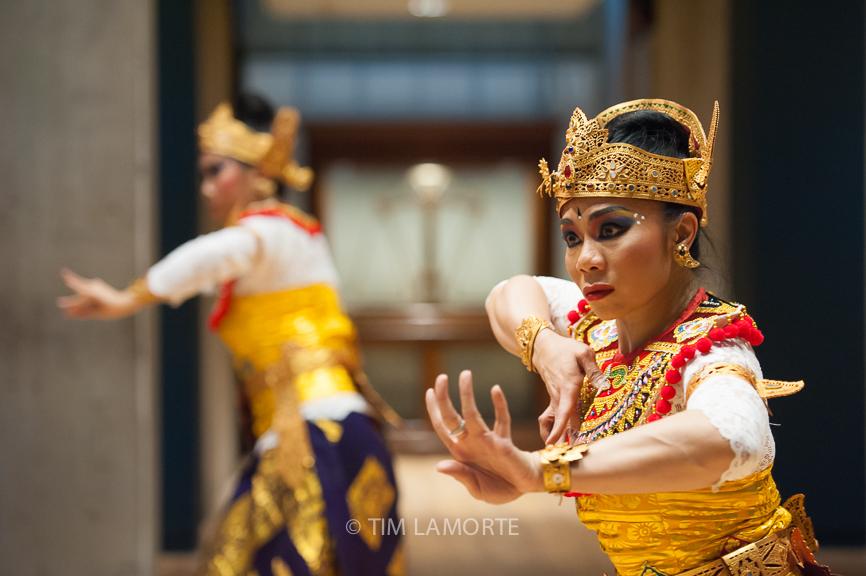 "Stephanie Ho and Miranda Danusugondo perform the Balinese dance ""Wiranata."""