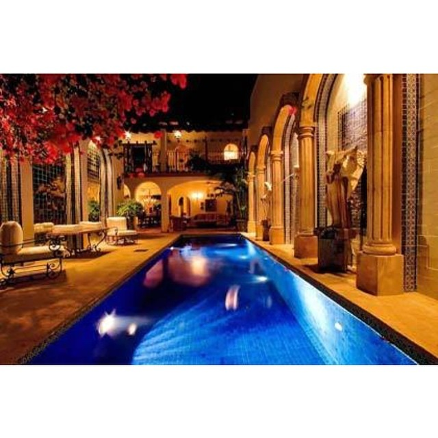 Take a relaxing night swim in the Hacienda pool beautifully lit with romantic lighting.