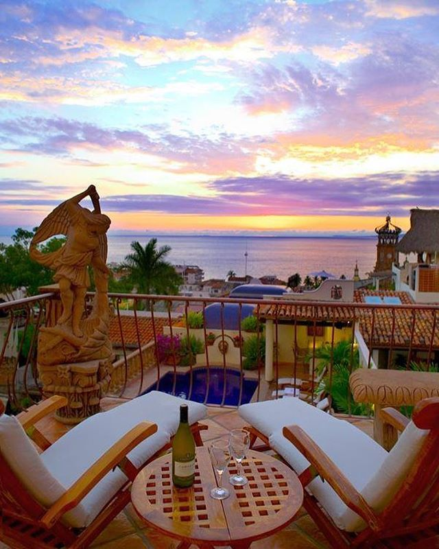 There are many cozy places to sit at the Hacienda to watch the stunning Puerto Vallarta sunset.