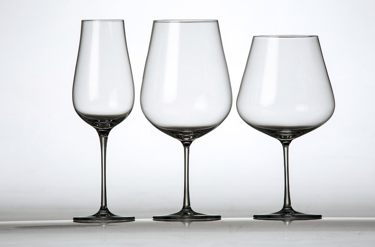 Some common wine glass shapes include, from left, the Champagne flute, the Bordeaux glass and the Burgundy glass.   Tony Cenicola/The New York Times