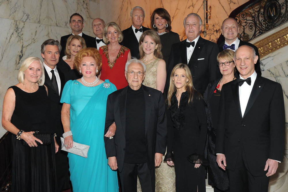 Top row left to right: John F. Prato, Consul General of Canada, New York; John J. Veronis; Galen W. Weston; Mila Mulroney; The Rt. Hon. Brian Mulroney; Ambassador Bruce A. Heyman;Middle row: Ambassador Gary Doer; Lauren Veronis; The Hon. Hilary M. Weston; Ellen Kratzer; Front row: Gail O'Brien; Jacqueline Desmarais; Frank O. Gehry; Jessica London; Audrey and David Mirvish