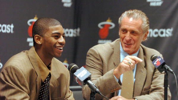 First-round draft pick Dorell Wright and team President Pat Riley speak to the media at a press conference at American Airlines Arena.