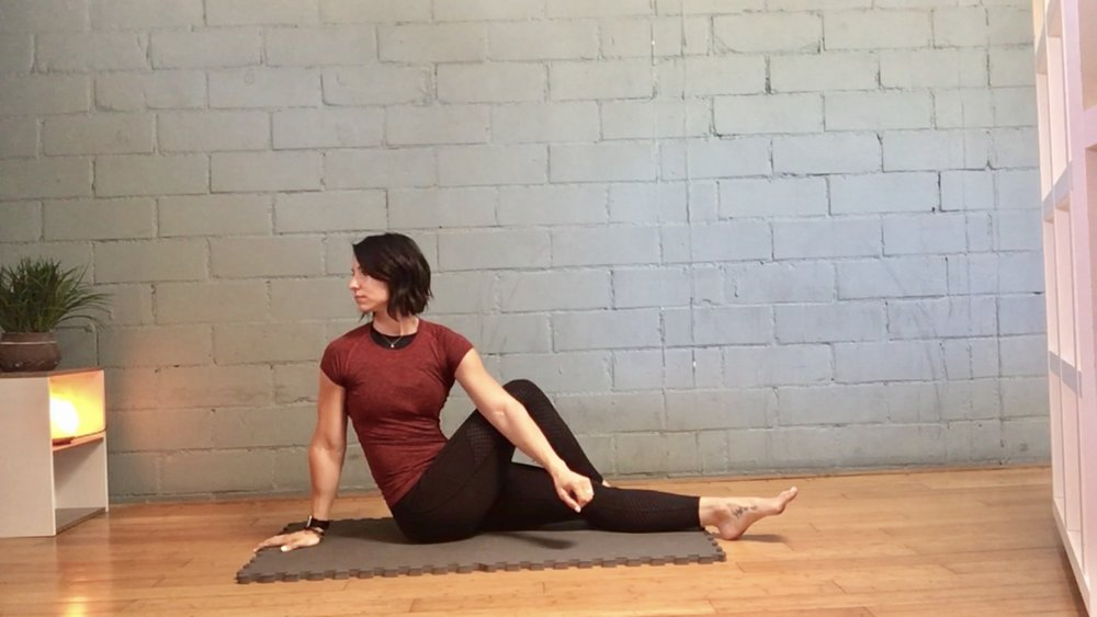 *Sit on the ground with your legs out in front of you. Cross your right leg over your left with your right knee bent. Gently twist to the right, pressing your left arm against your right leg to generate a stronger spinal twist. Hold for 90 seconds & gently come out of the stretch. Repeat on the other side.