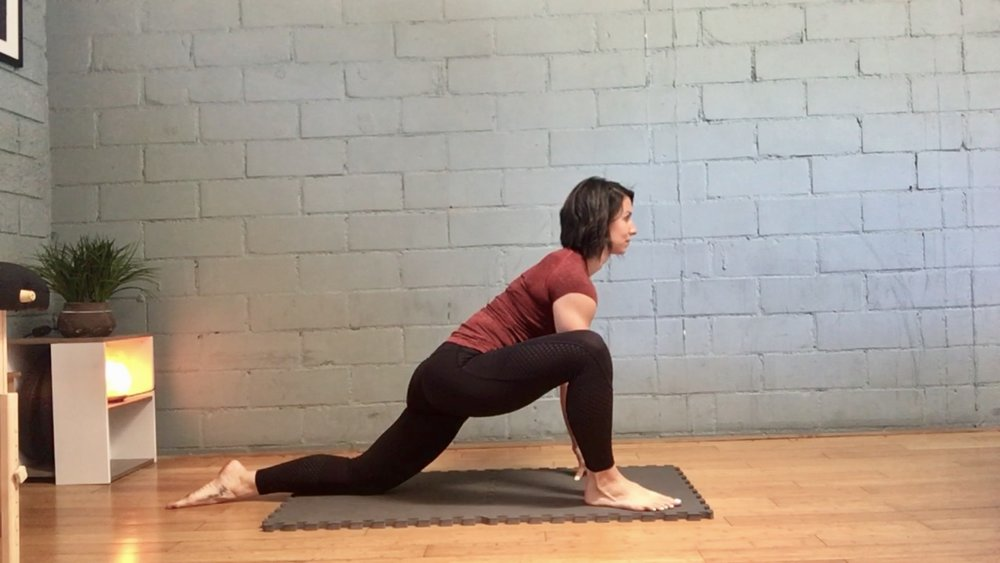 *Get into a deep lunge with your right leg forward, your head/chest up and your spine flat. Lean deeper into the lunge until you feel a strong but comfortable stretch in your left hip flexor. Hold for 90 seconds & then switch sides.