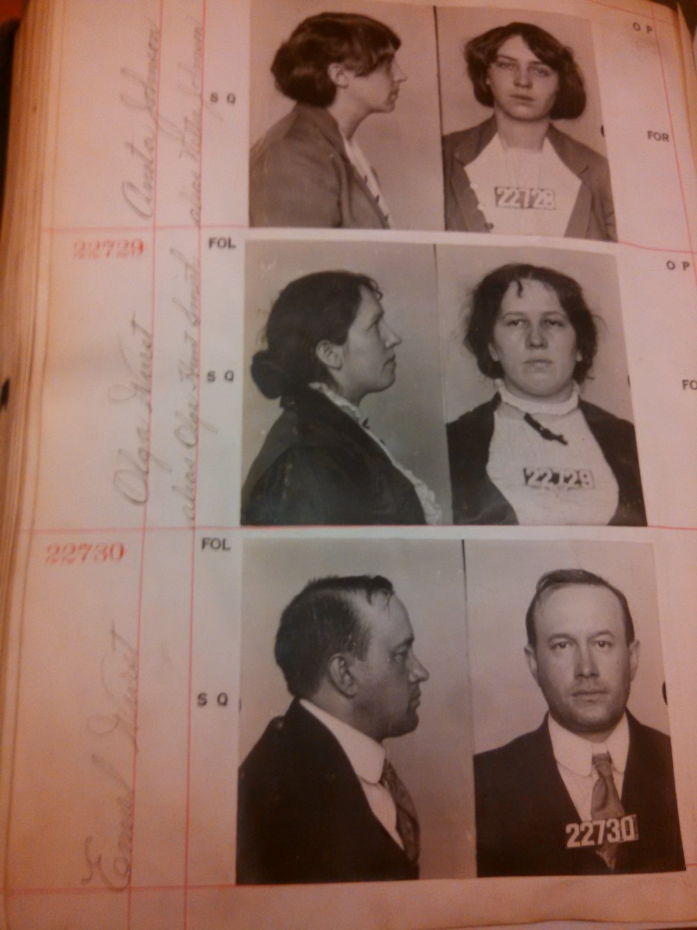 "Courtesy of the San Francisco History Center at the San Francisco Public Library. Mugshots of ""Sex Crimes and Muzzlers"" from San Francisco, 1918."