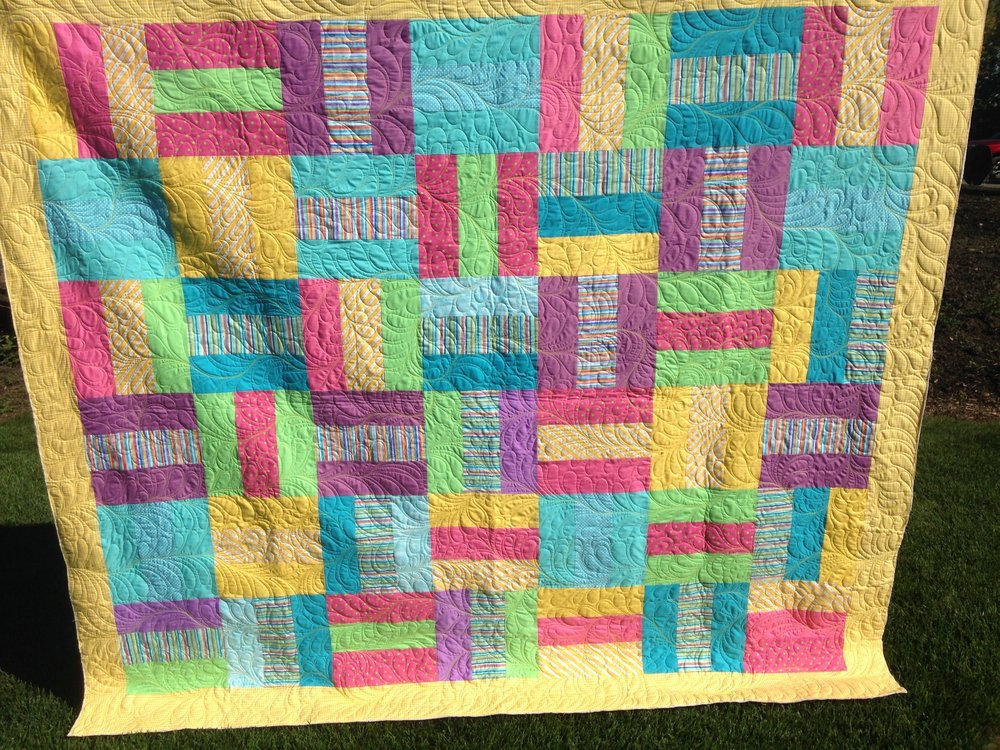 This quilt is 81 by 91 inches.