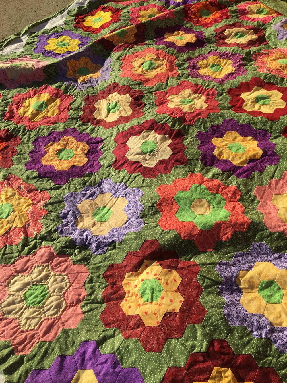 Oldest UFO hand pieced and started to hand quilt.