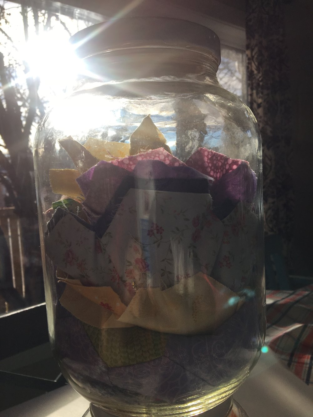 This was one of my grandma's jars. She died when I was 7. She was an extremely talented seamstress and quilter, basically a fabric magician. She is one of the reasons I started to sew when I was 10. I feel connected to her when I create with fabric.