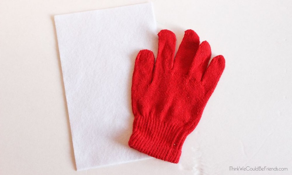 one glove (size of paper)