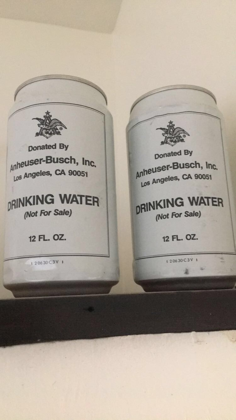 Vintage Canned Water - Usually these were donated by Anheuser Busch to victims of natural disasters. A great design touch by the folks at Mojave Green