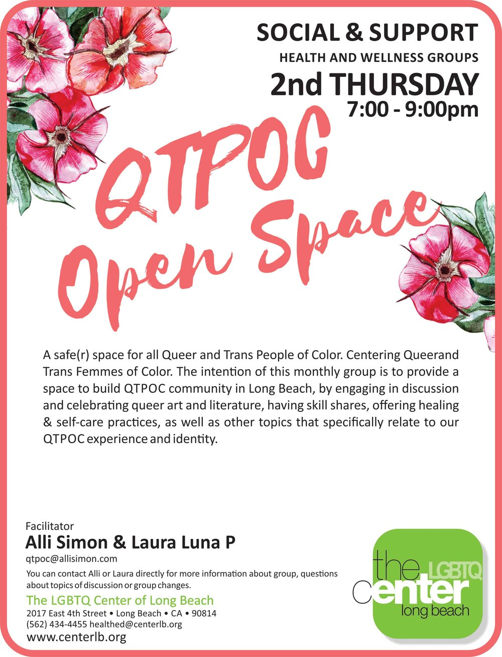 QTPOC Open Space - Long Beach LGBTQ Center