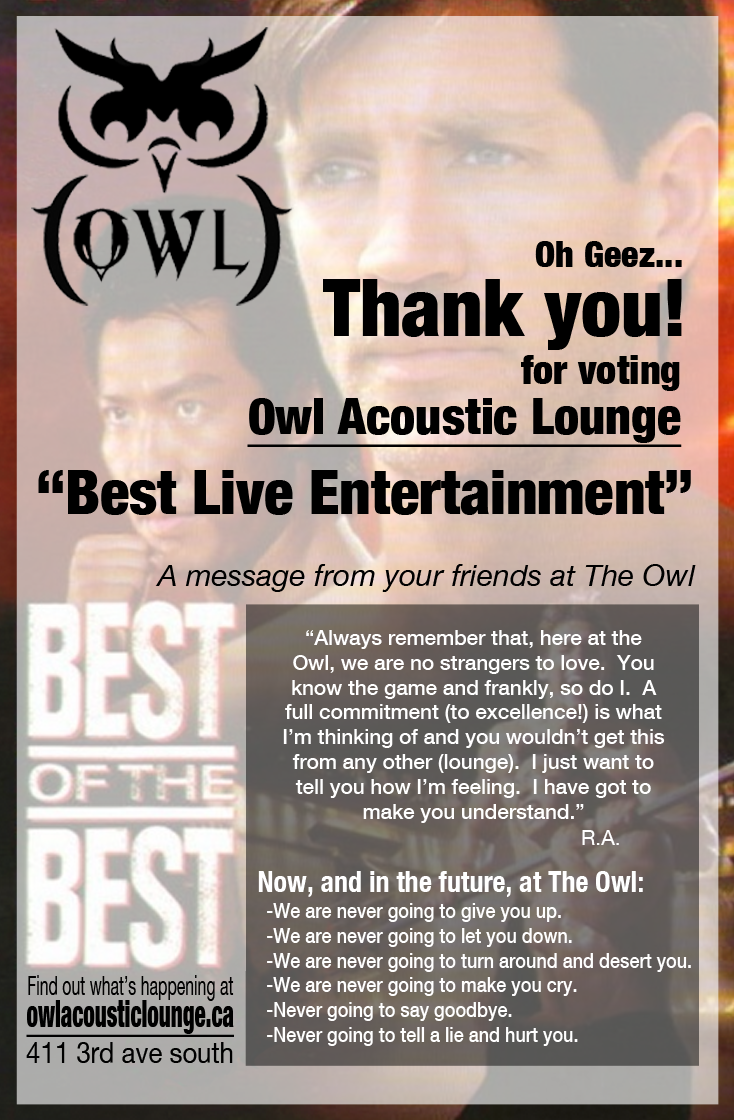 Blog owl acoustic lounge you voted us best of the best for live entertainment in lethbridge that was nice of you thank you we think you are pretty cool too malvernweather Choice Image