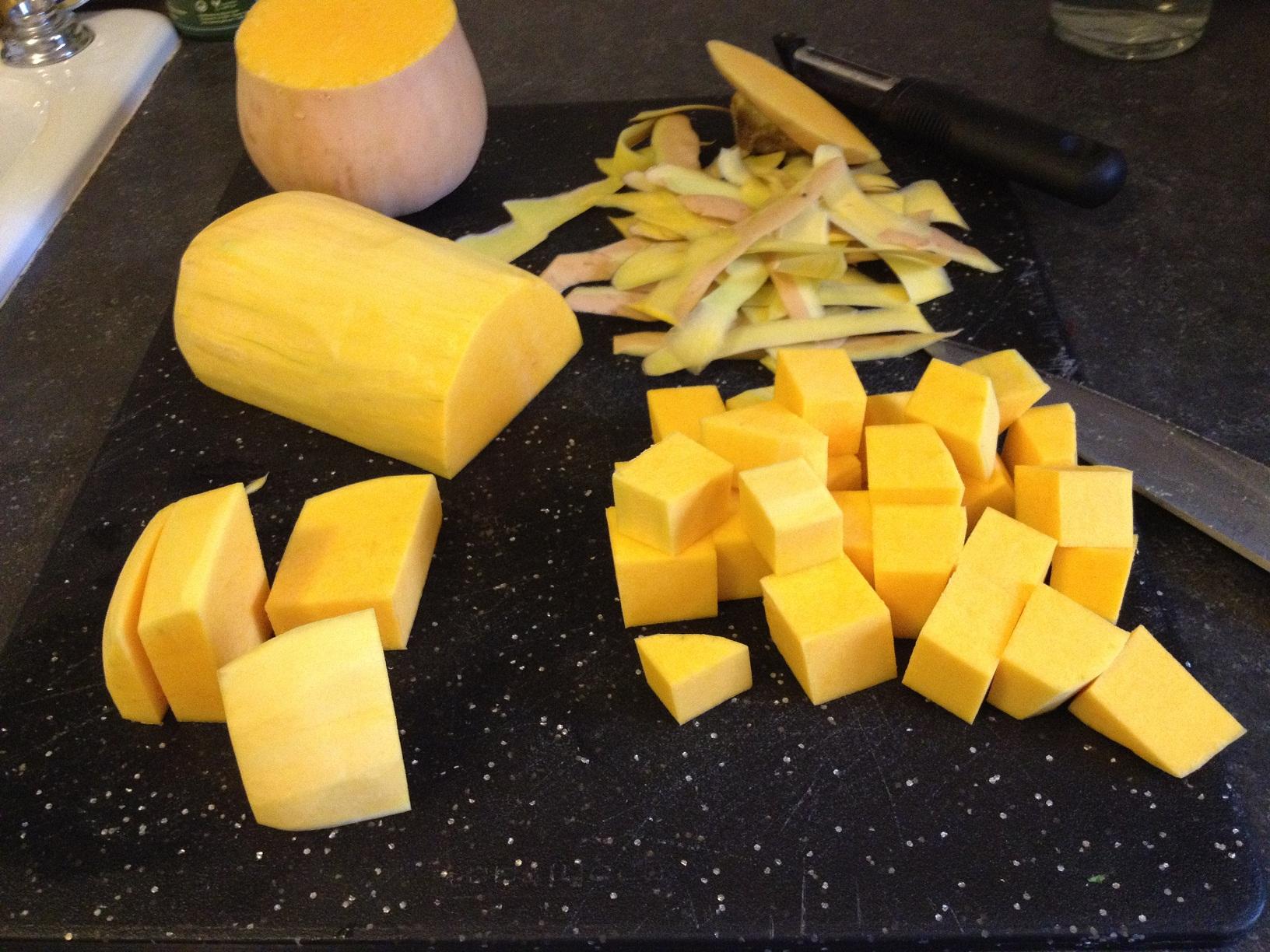 Prepping the Butternut Squash