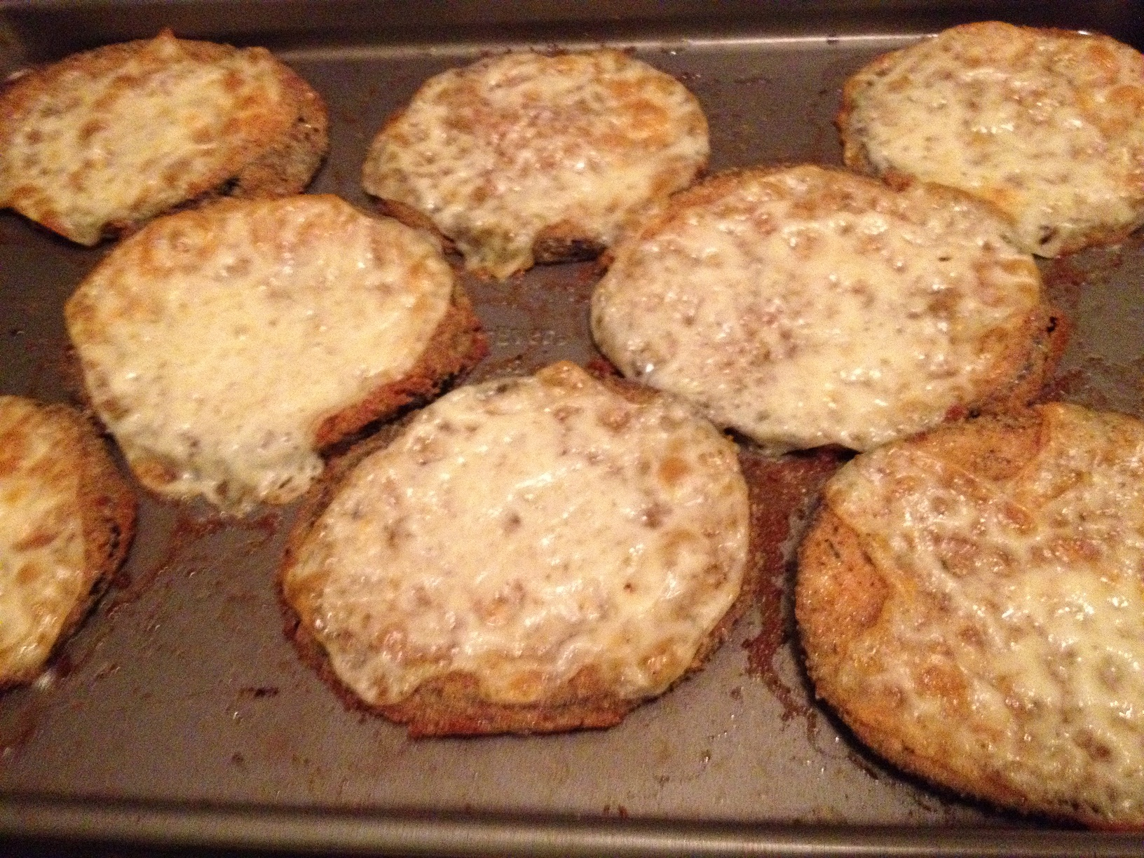 Cheese all bubbly on the eggplant, fresh out of the oven.