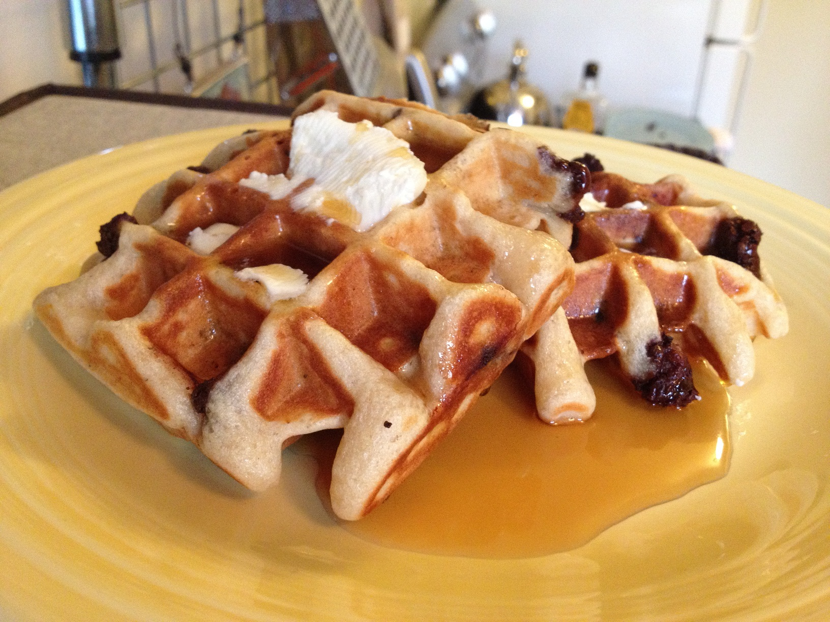 Belgium Waffles with Chocolate Chips