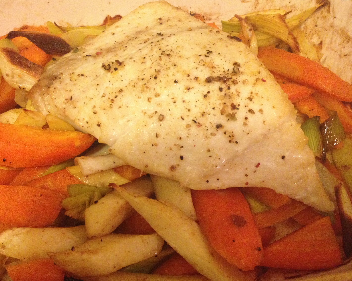 Oven Baked Halibut with Spiced Veggies