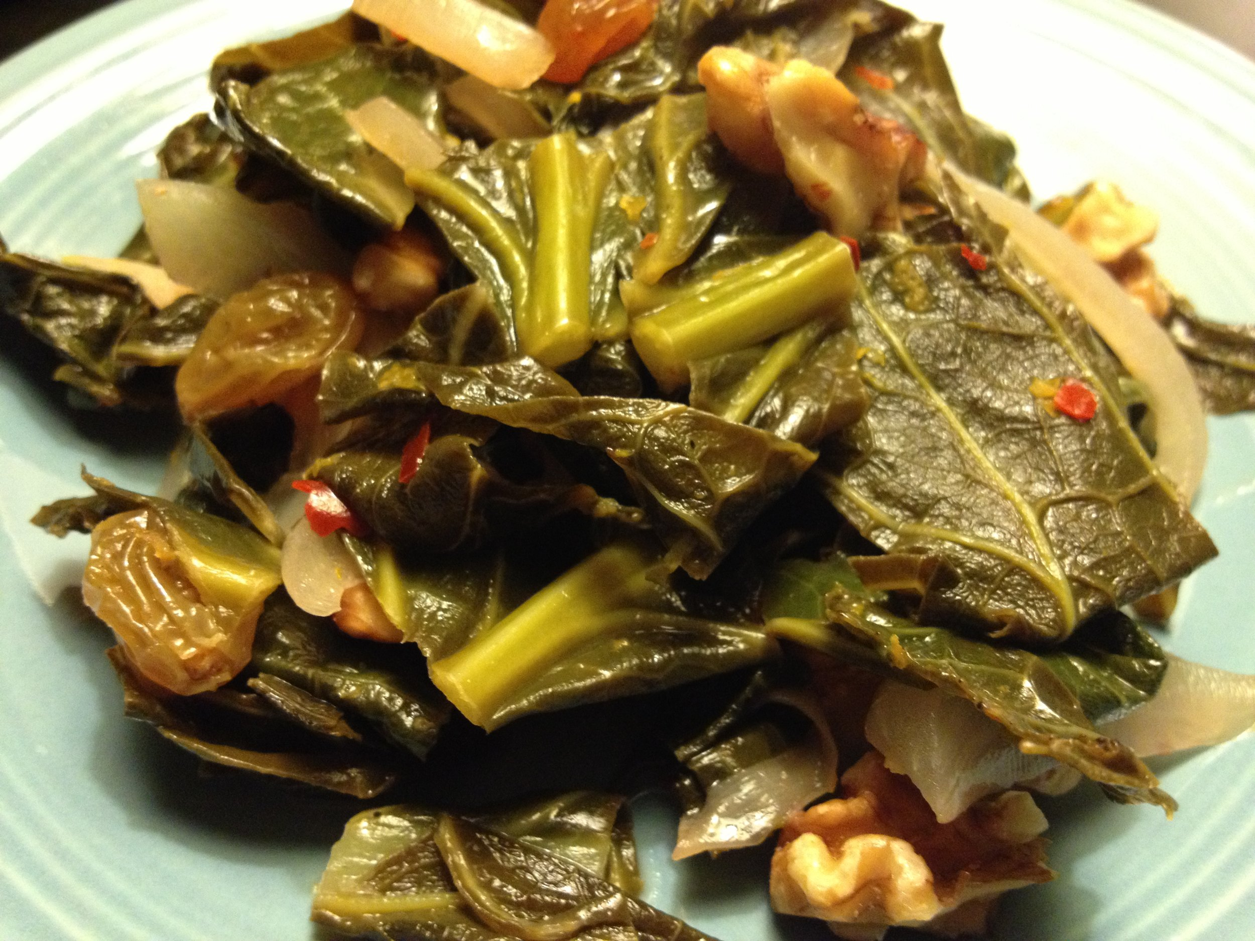 Braised Collard Greens with Raisins