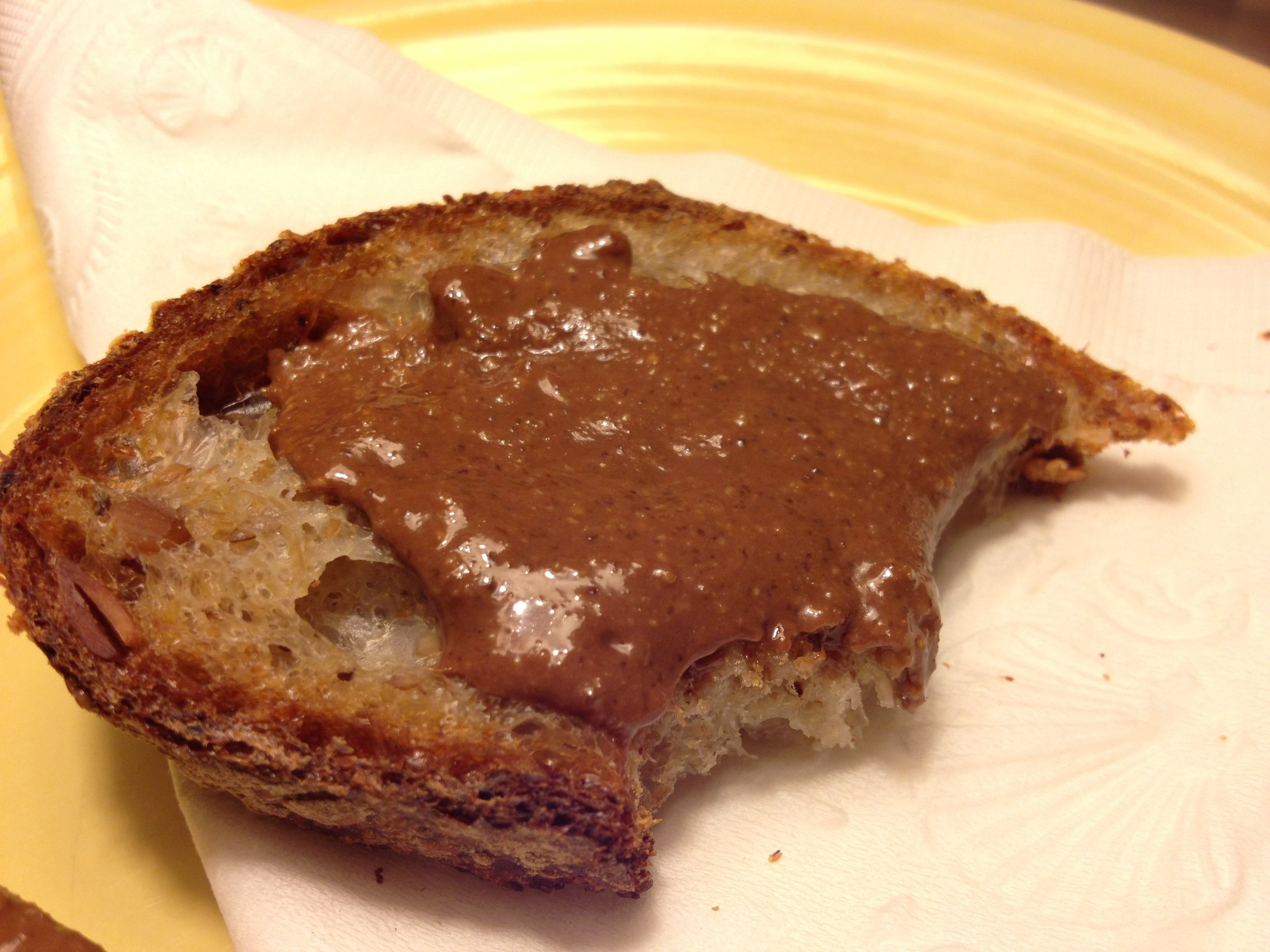 Multigrain Bread with Crunchy Chocolate Hazelnut Spread made with Olive Oil