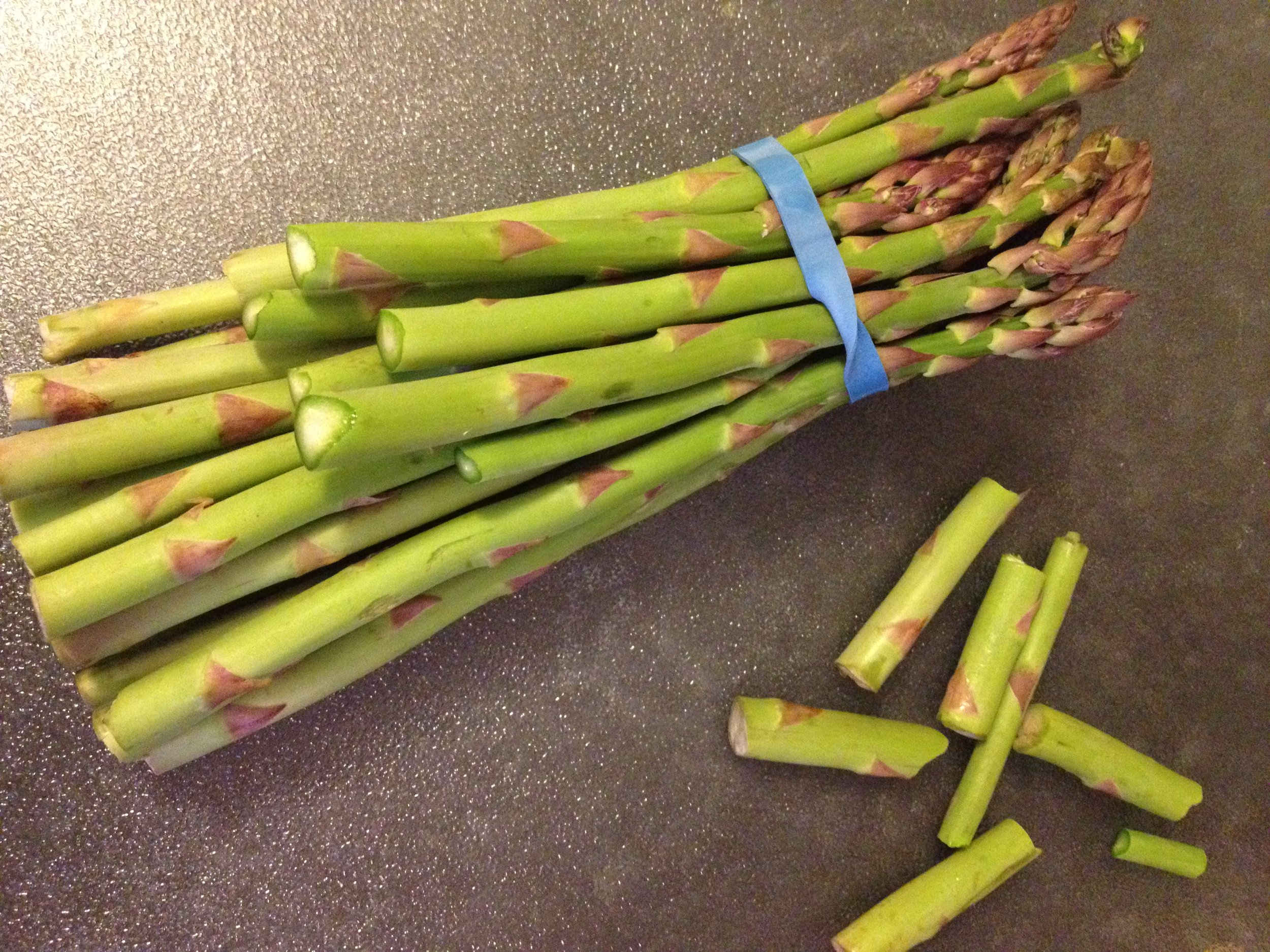 Asparagus with a natural guide line for trimming.