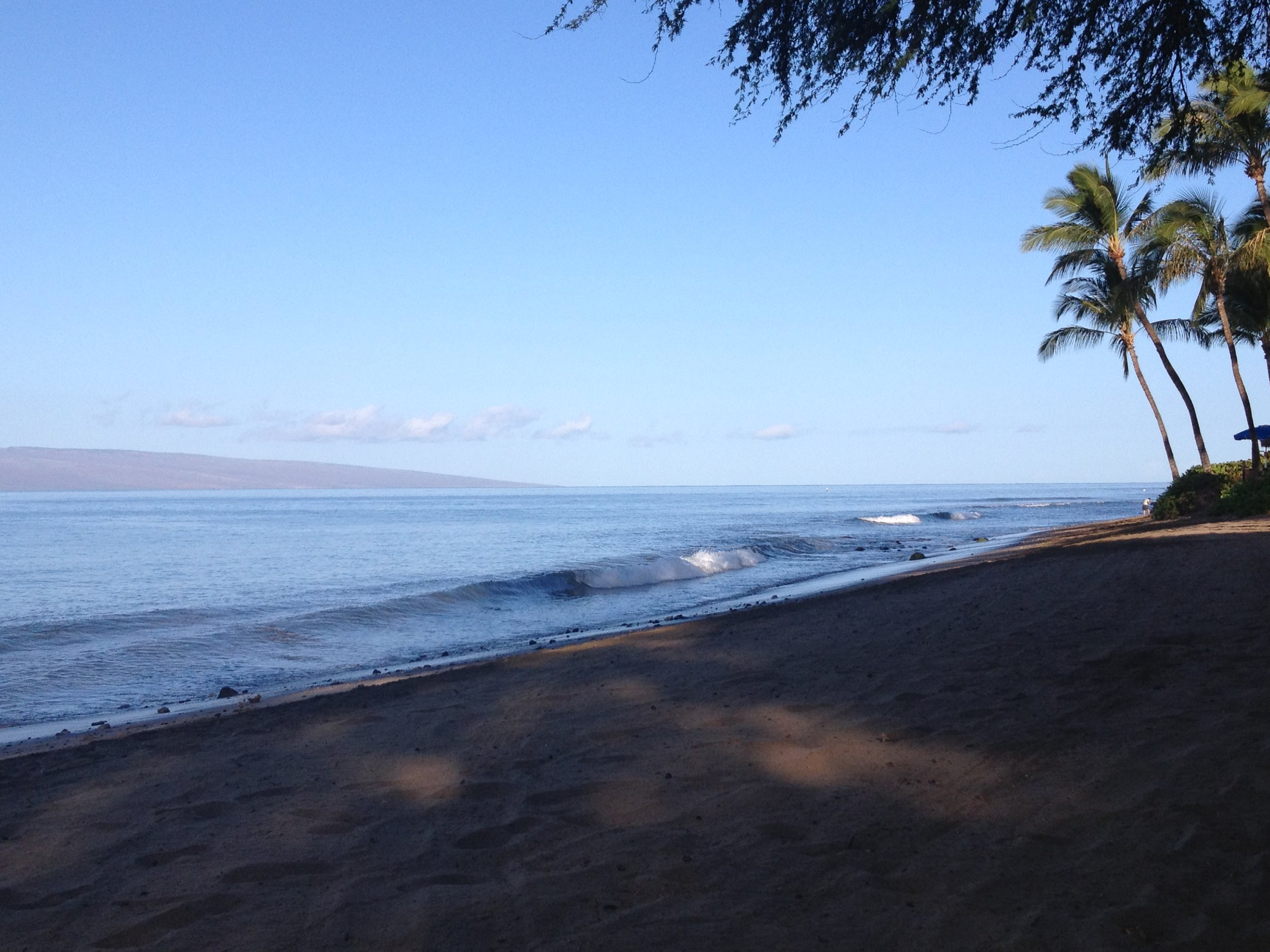 Beach after a morning walk in Maui.