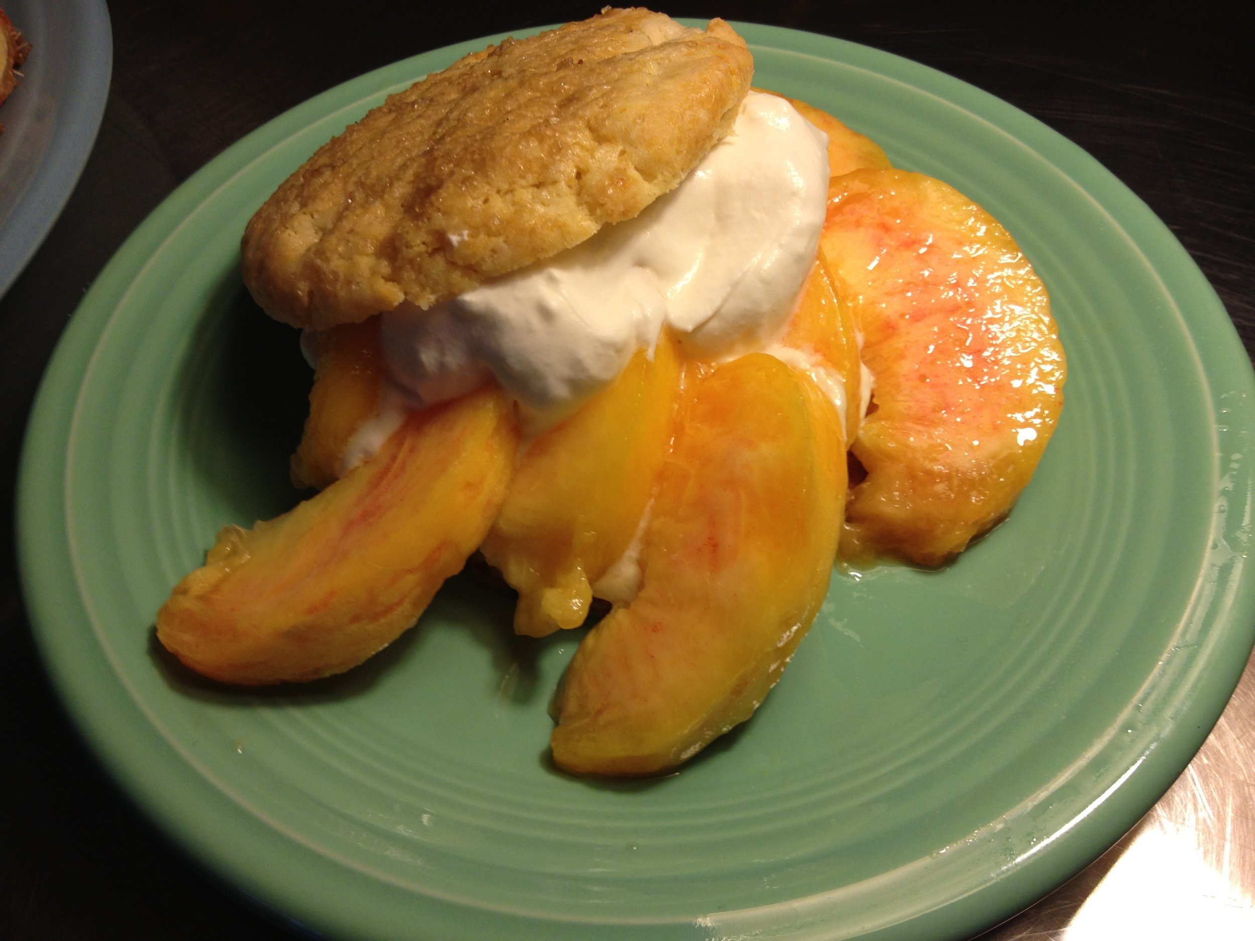 Peach with Gingered Shortcakes and Mascarpone Whipped Cream