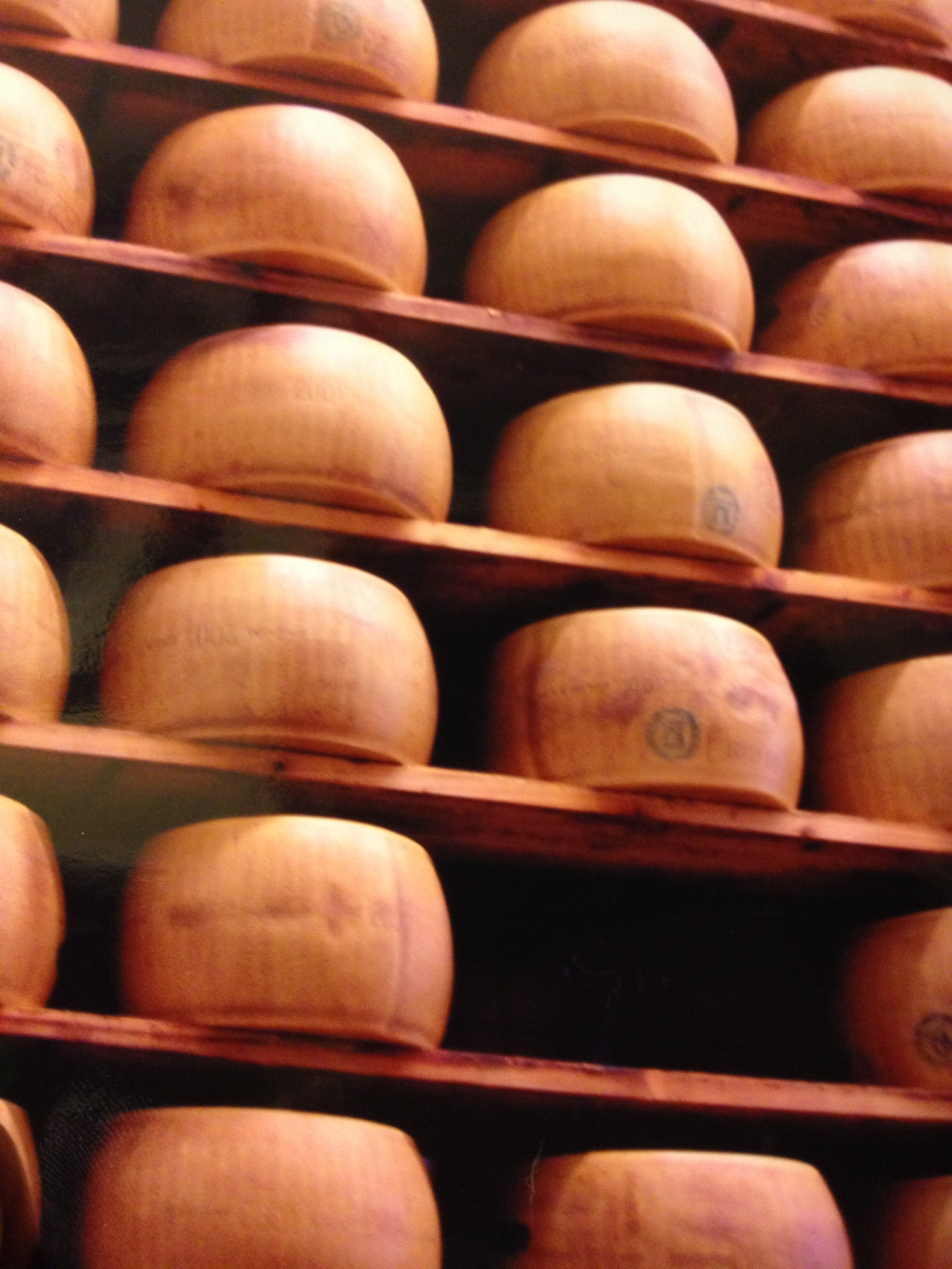 Lots and lots of Parmesan cheese aging.