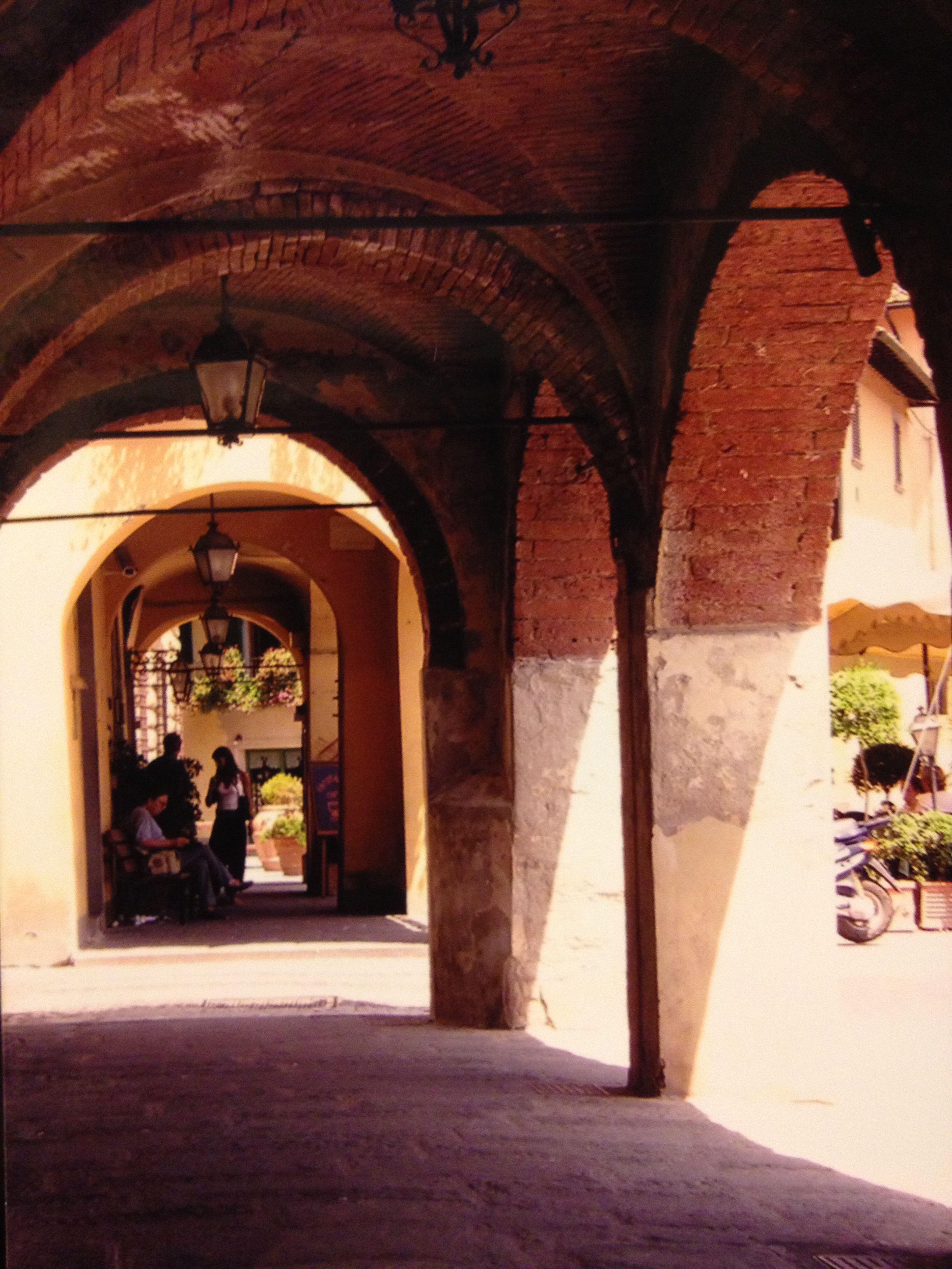 One of the many old stone covered walkway in Tuscany.