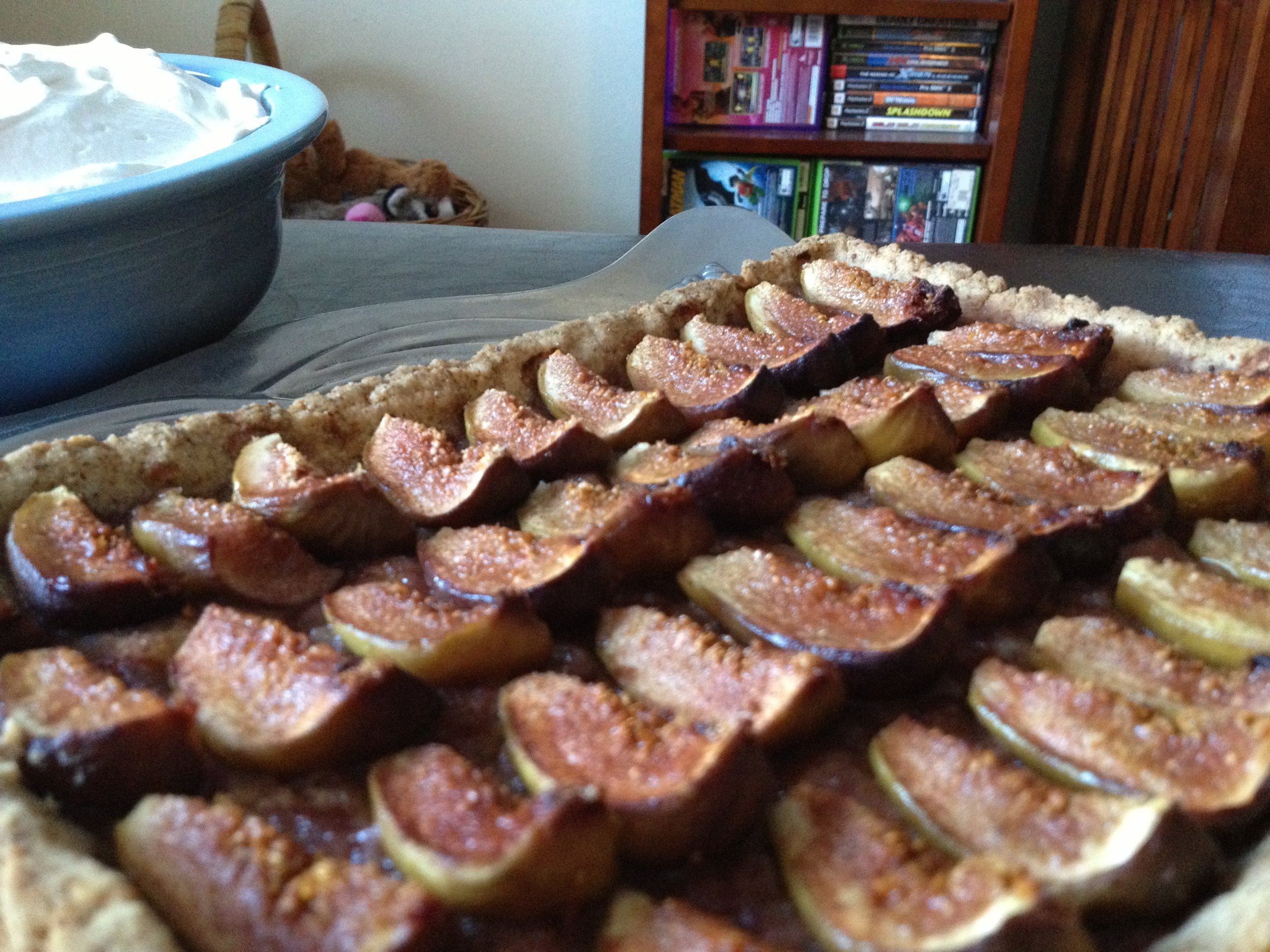 Roasted Fig Tart with a Pecan Crust, along with slightly sweetened Whipped Creme