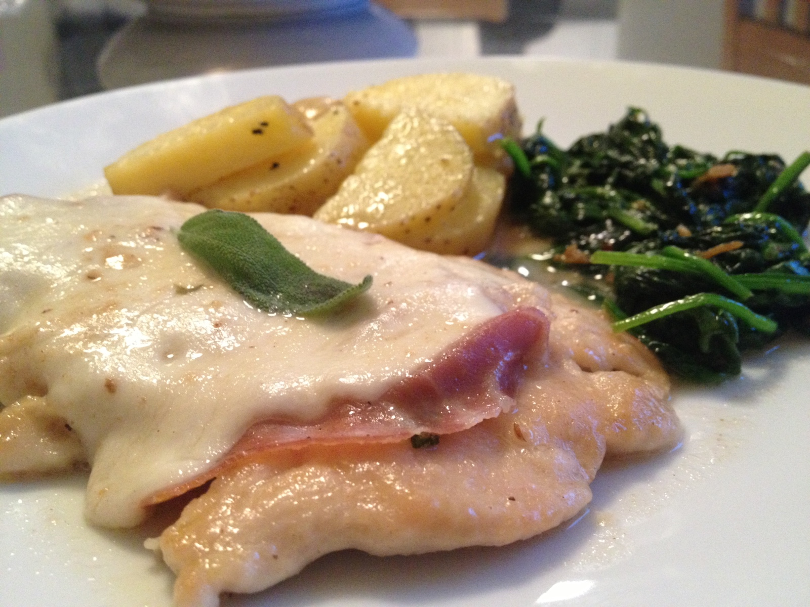 Chicken Saltimbocca (with potatoes and sauted  garlicy spinach on the side)