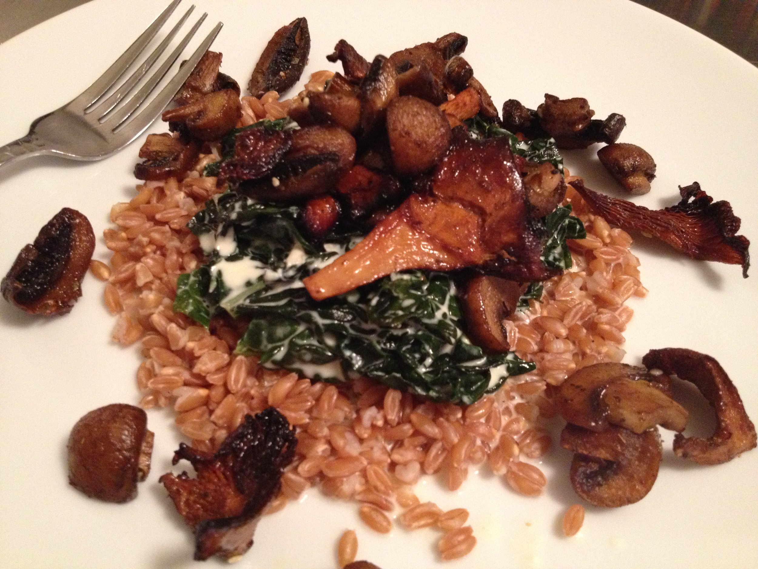 Roasted Zaatar Mushrooms; Creamed Kale with Garlic and Goat Cheese; and Faro