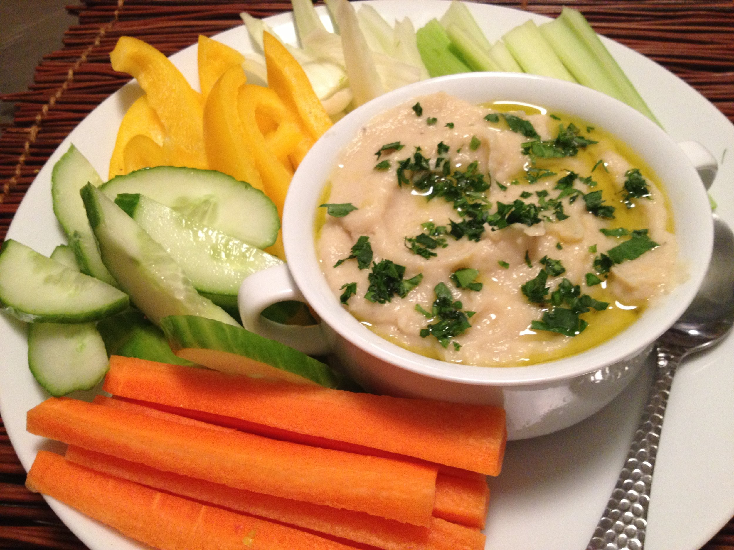 White Bean and Artichoke Spread, with assorted crudite