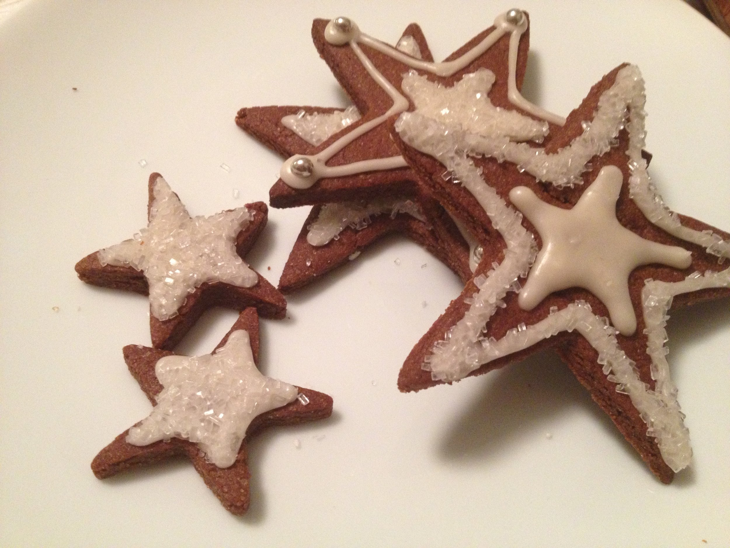Chocolate Sugar Cookie Stars with Peppermint Icing