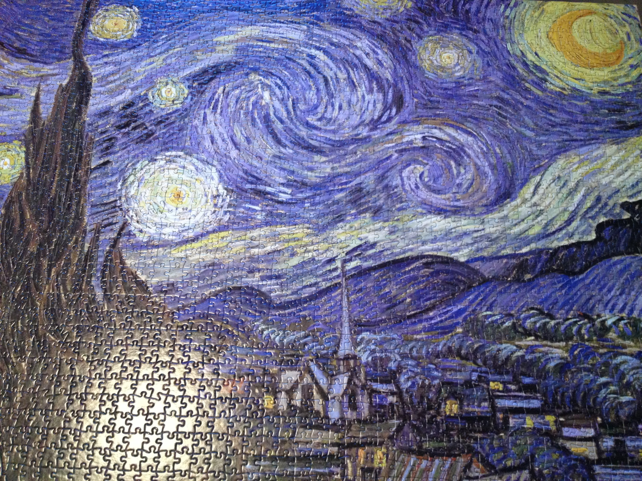 Finally completed 2,000 piece Starry Night puzzle.