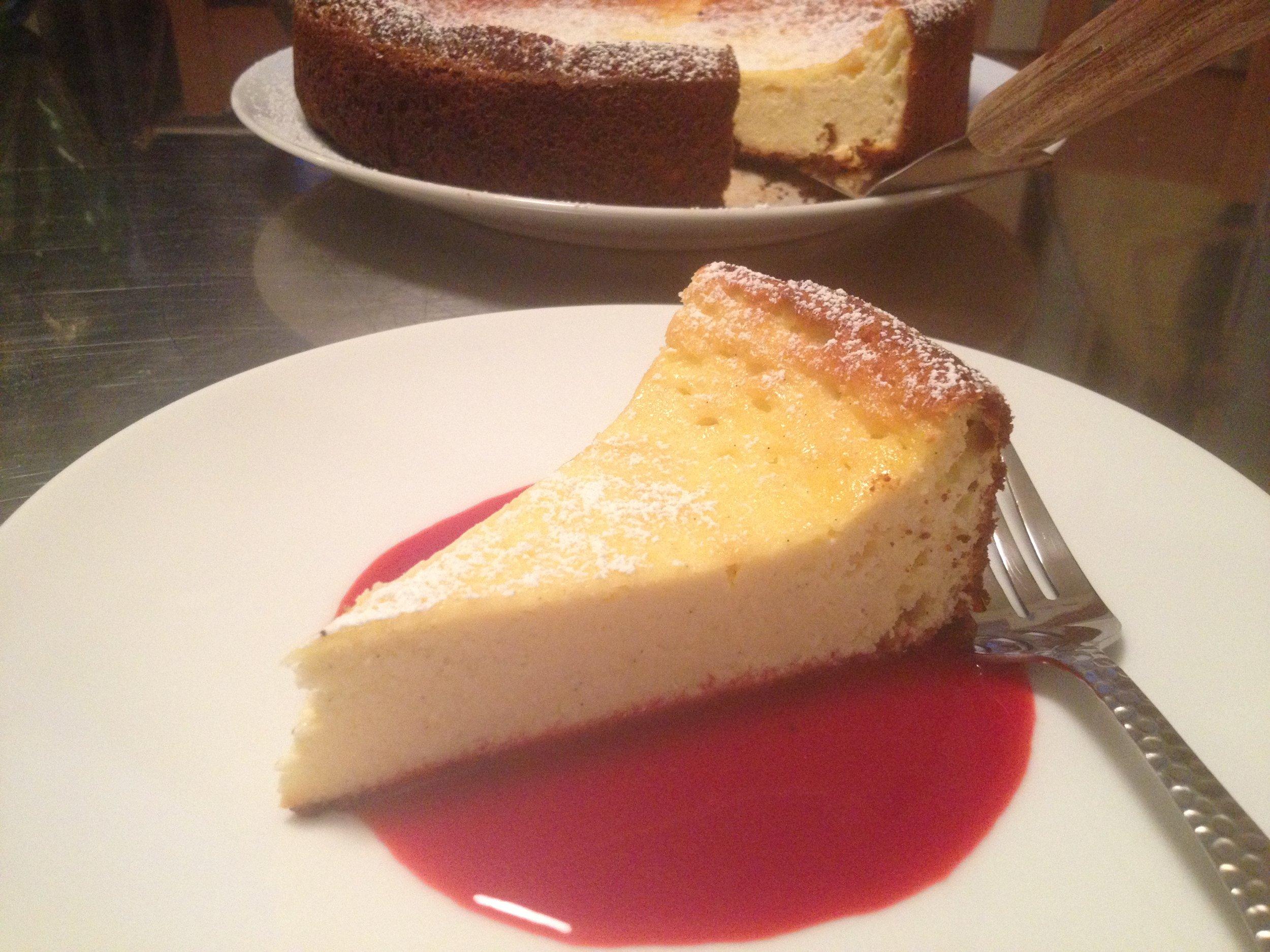 Ricotta Cake with Raspberry and Honey Puree