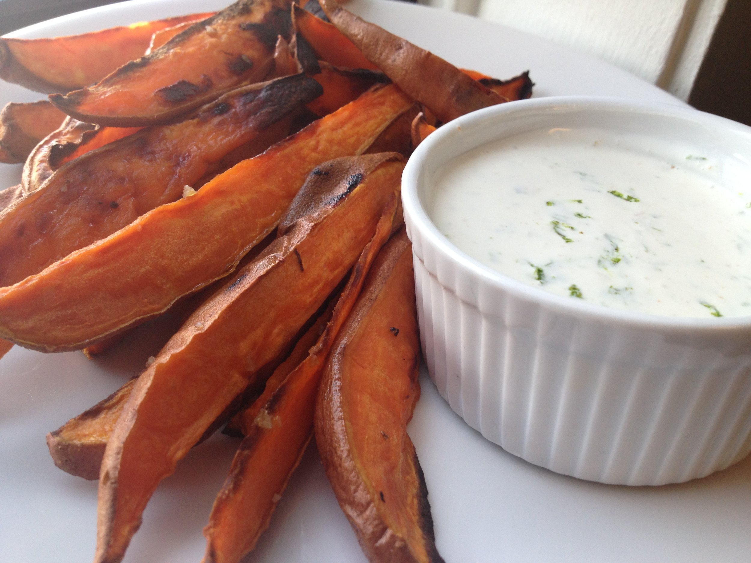 Baked Sweet Potato Fries, with Creamy Lime Dip
