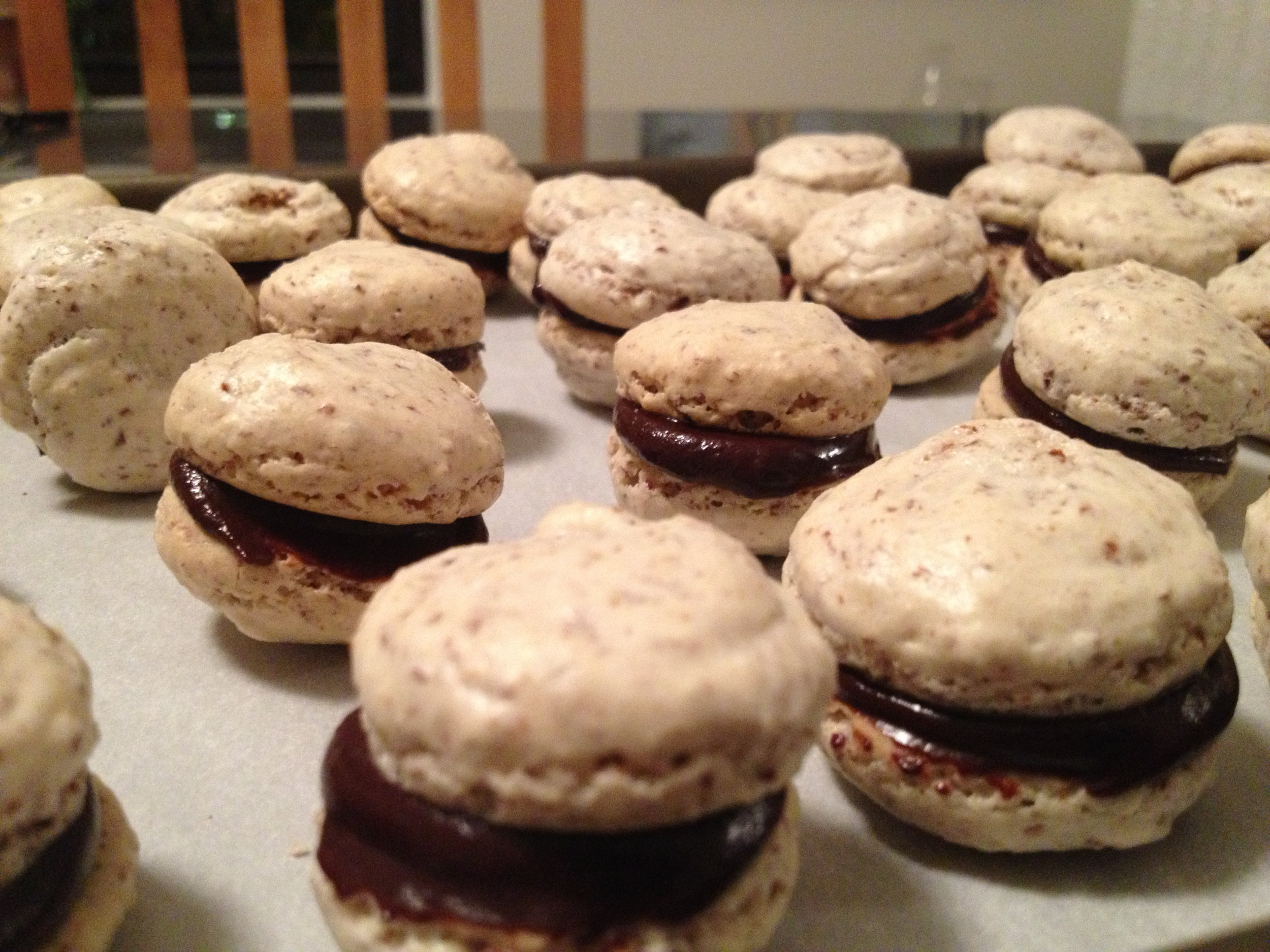 French Almond Macaroons, sandwiched with Dark Chocolate Ganache