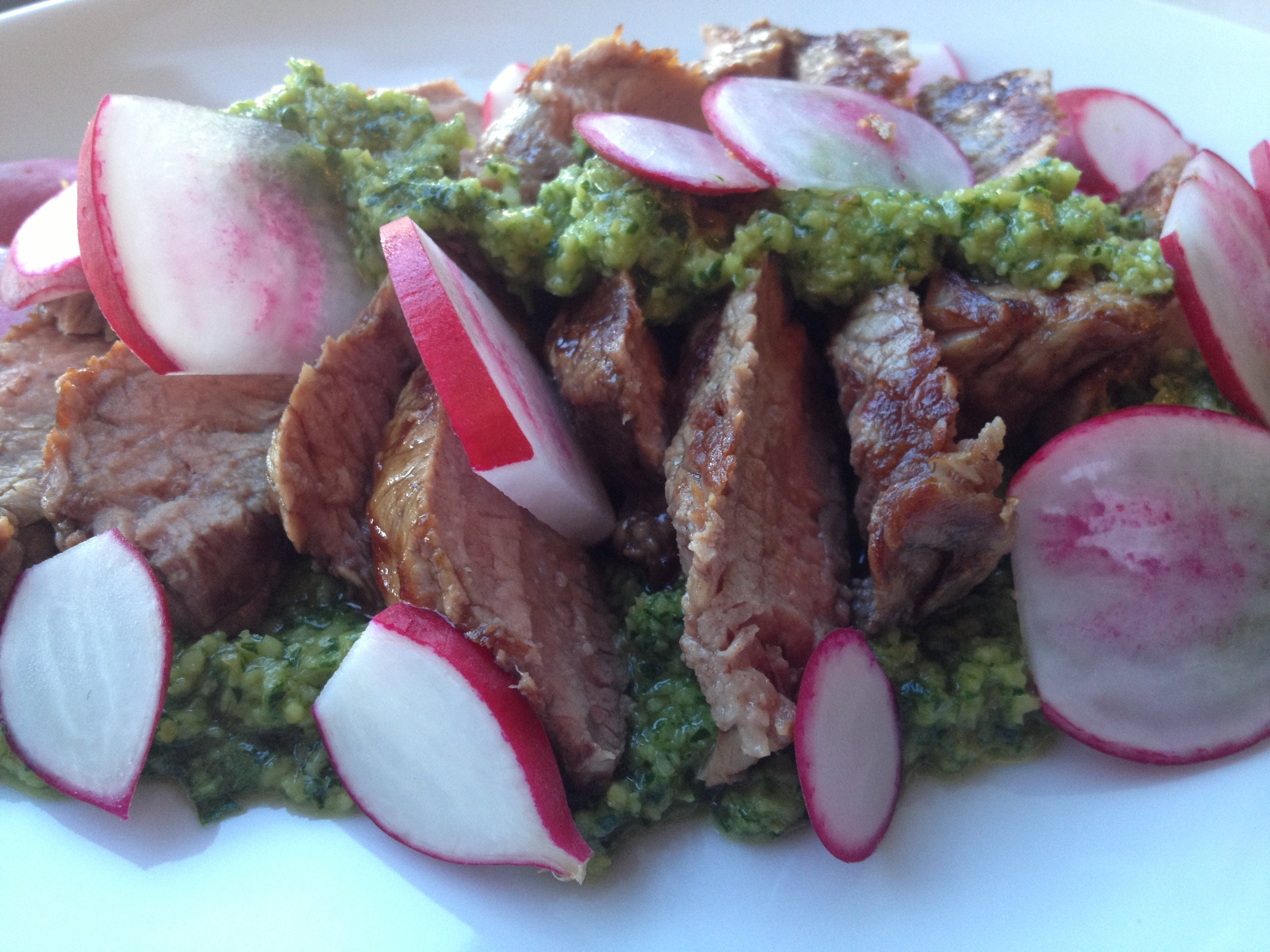 Parsley and Olive Sauce, with grilled Steak and some Radishes. (yes, my streak was slightly overcooked, but I tried!)