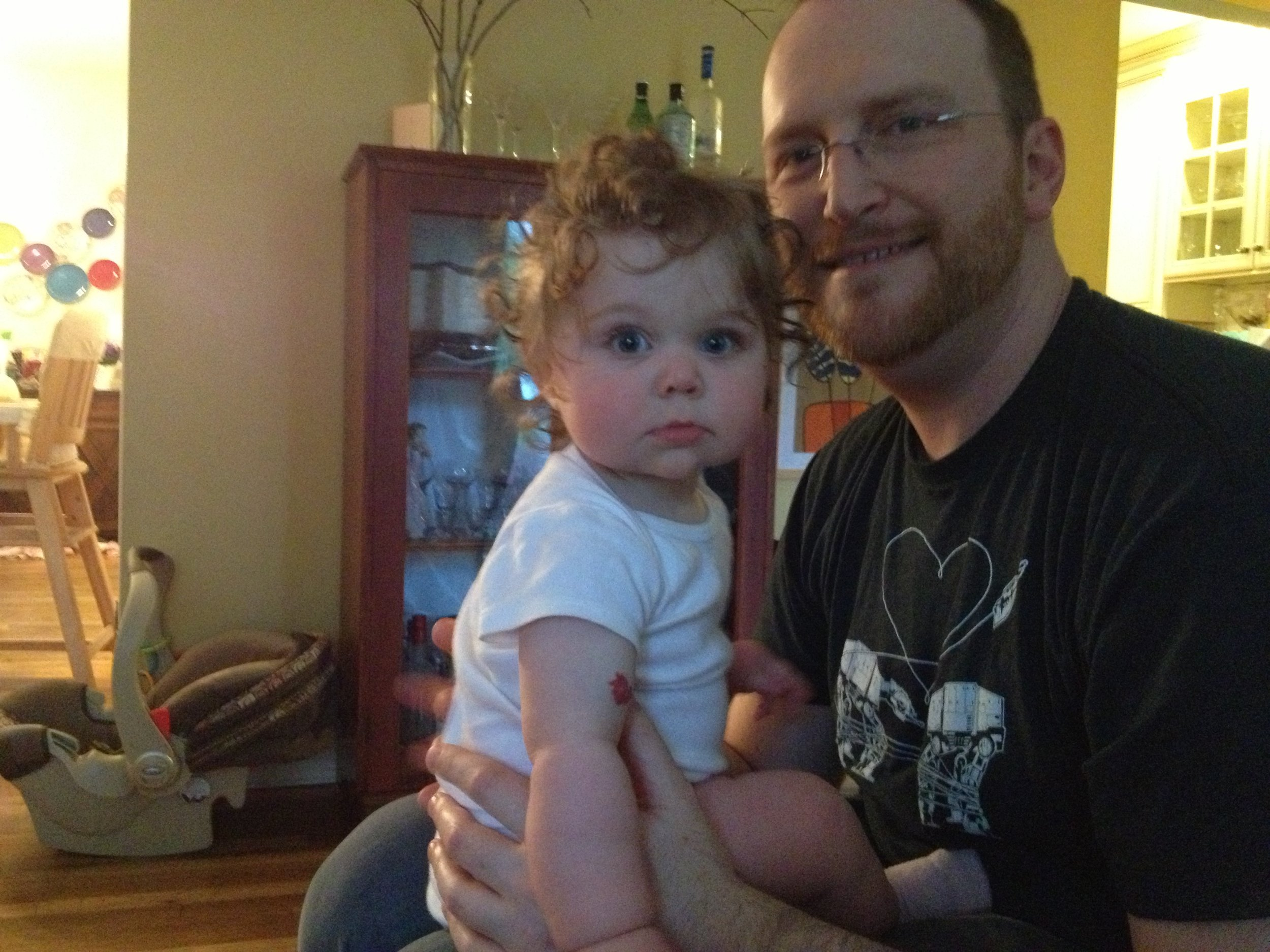 Noelle and Uncle Brian. (Noelle just woke up from her nap!)