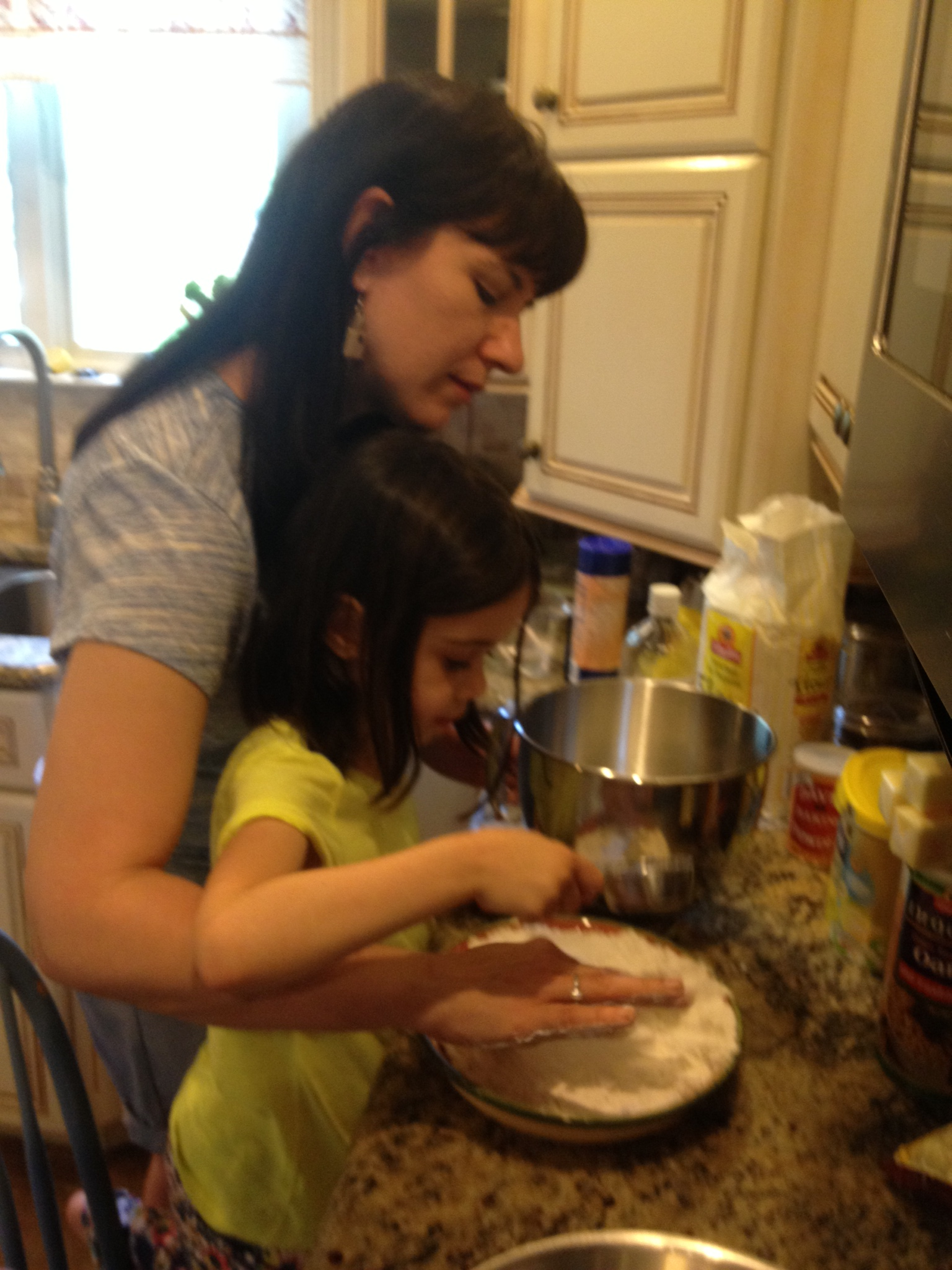 Gia and I measuring out ingredients for our afternoon of baking.
