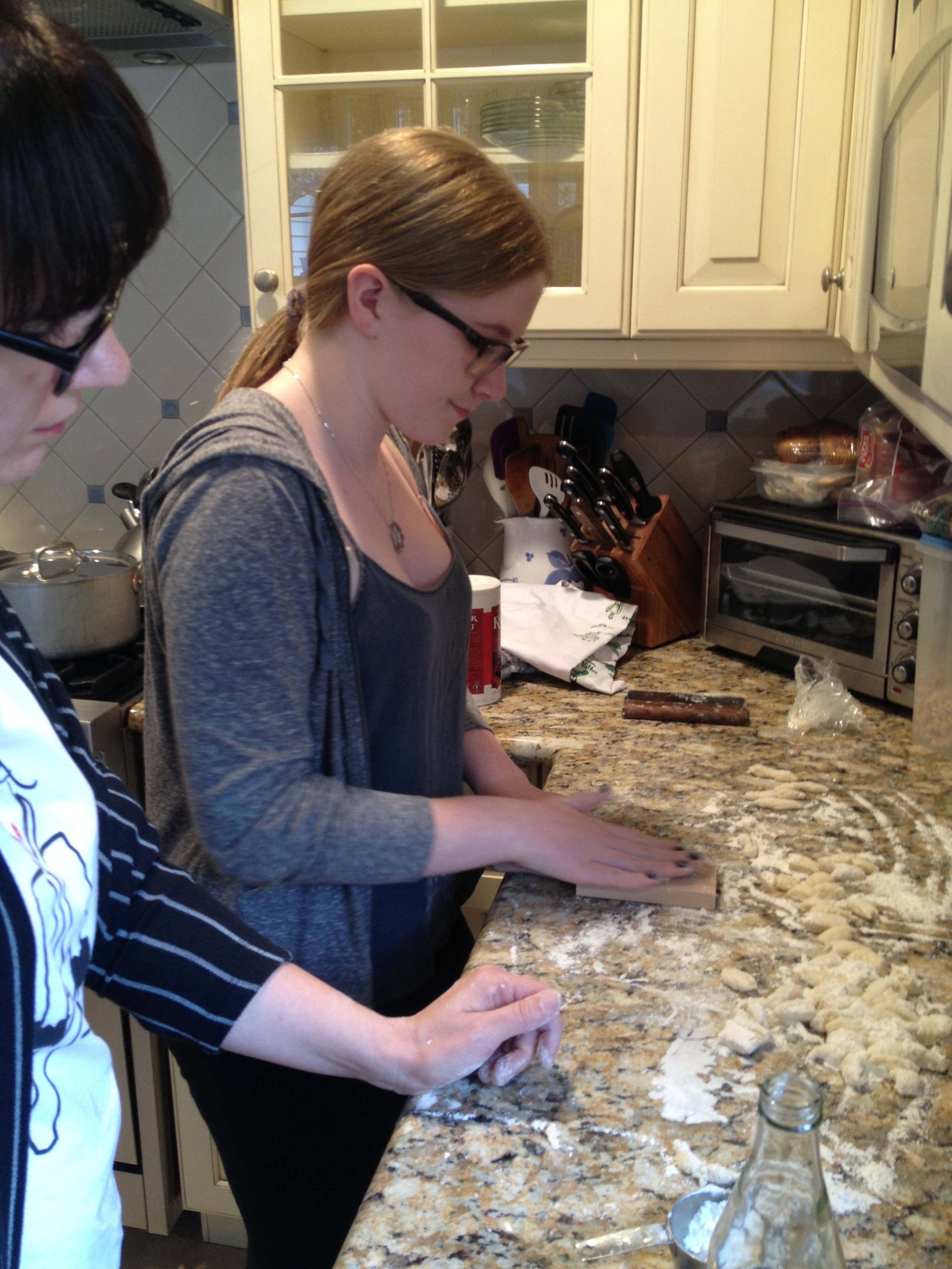 Gnocchi production underway with my niece Lora.