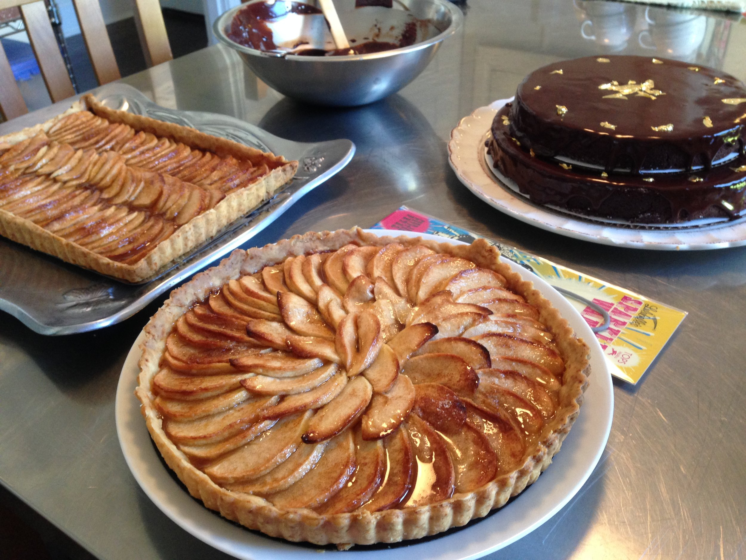 The French Apple Tarts and Flourless Chocolate Cake all read for the celebration!