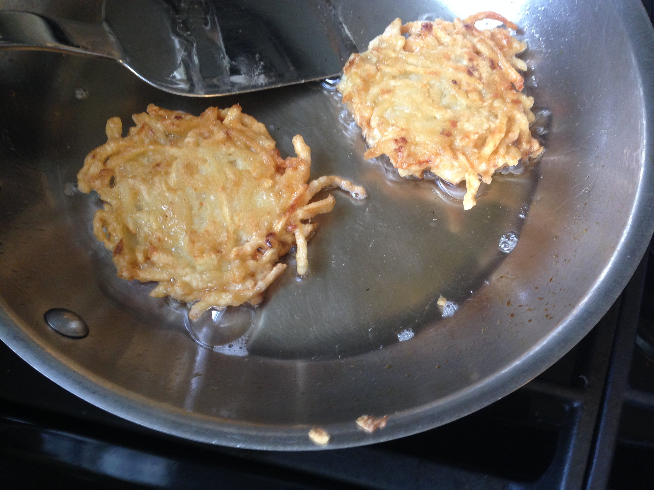 Frying up the Potato Pancakes