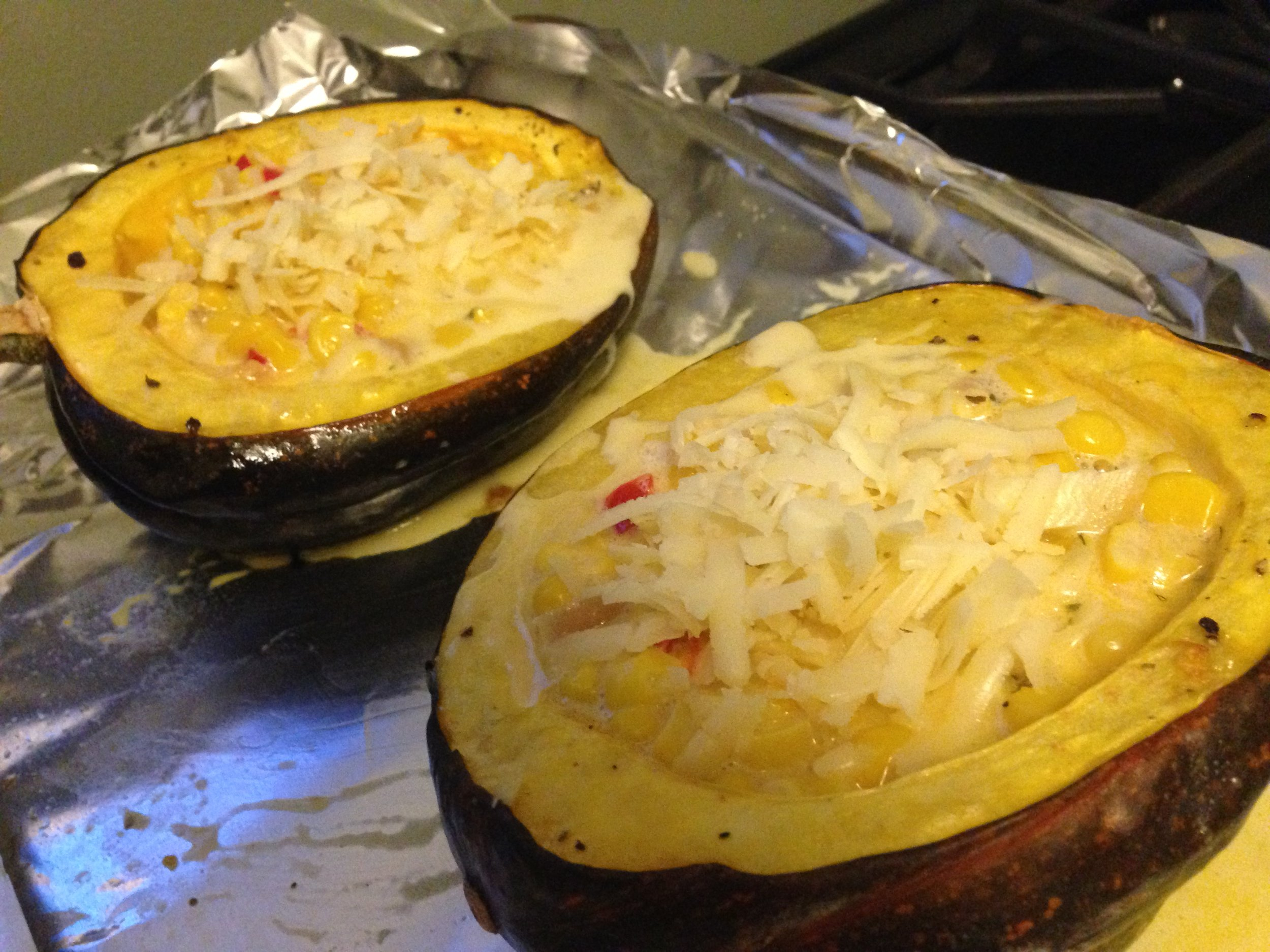 Stuffed squash ready for the oven.