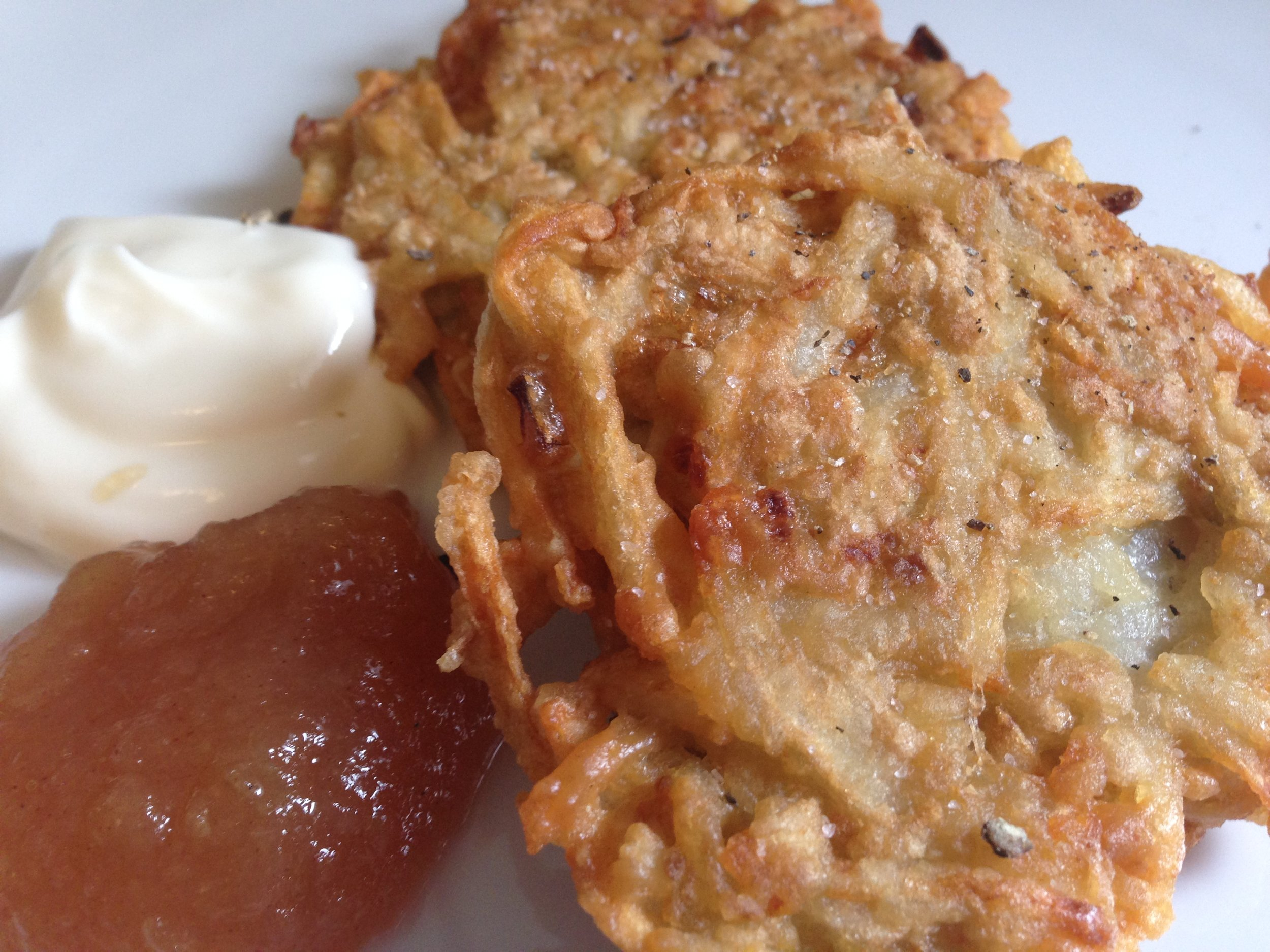 Potato Pancakes, a.k.a. Latkes with Apple Butter and Sour Cream