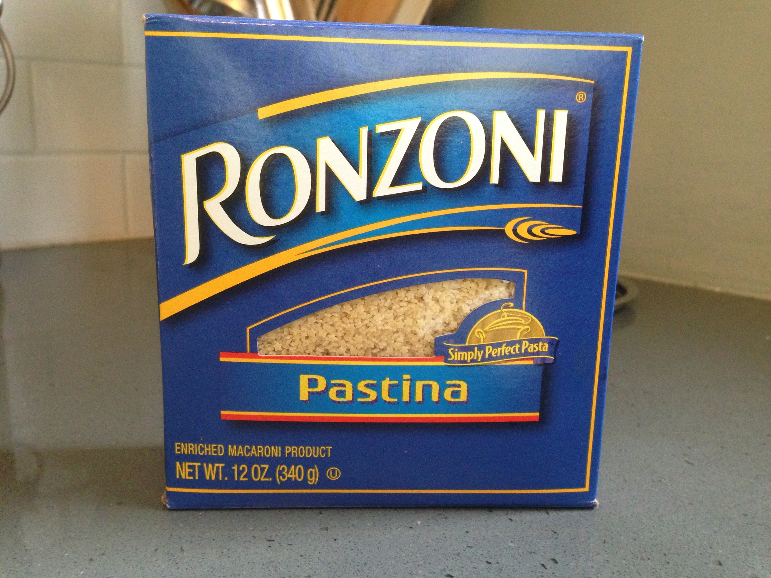 One of the few boxes of Pastina I brought home from our New Jersey visit.